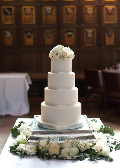 Traditional White Four Tiered Wedding Cake by Hannah Hickman Creative Cake Makers