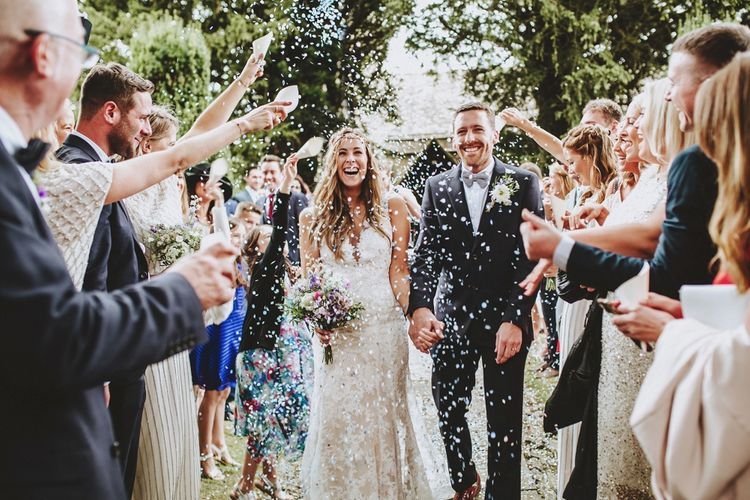 Bowtie Groom Confetti Moment Image by Frankee Victoria Photography