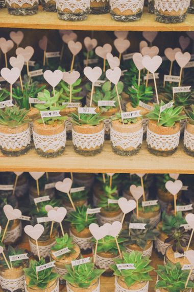 Succulent Wedding Favours in Glass Jars with Heart Tags