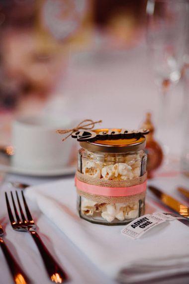 Jar of Popcorn Wedding Favour