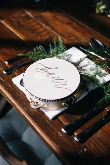 Personalised Tamborine Name Place Setting and Wedding Favour