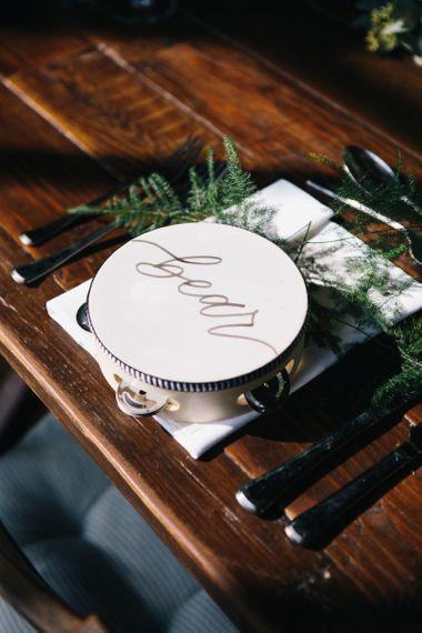 Personalised tambourine wedding favours