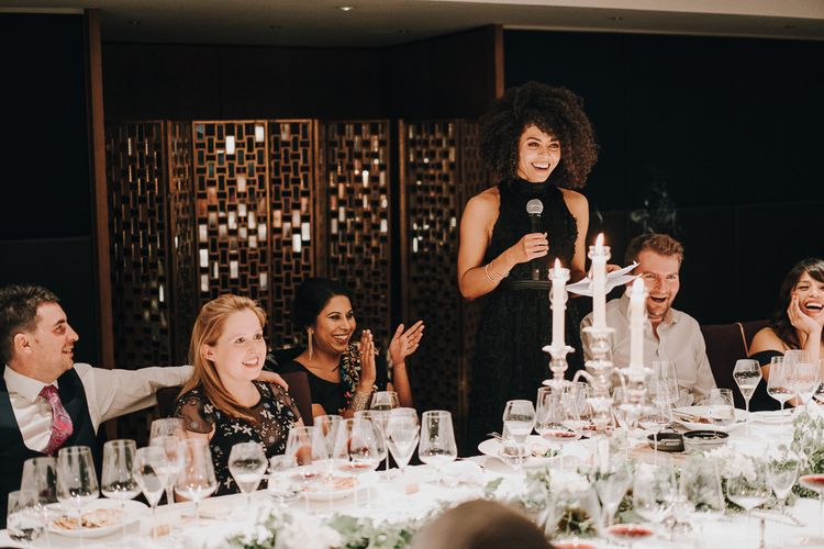 Wedding guests delivering speeches at wedding for 15 people