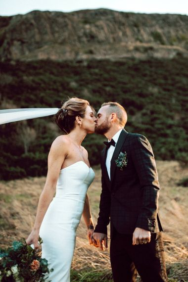Bride and groom elopement in Scotland at wedding for 15 people
