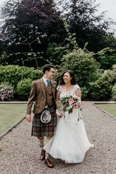 Intimate bride and groom portrait at wedding for 15 people