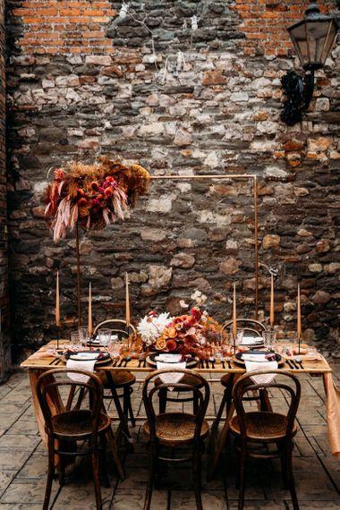 Rust themed wedding table decor