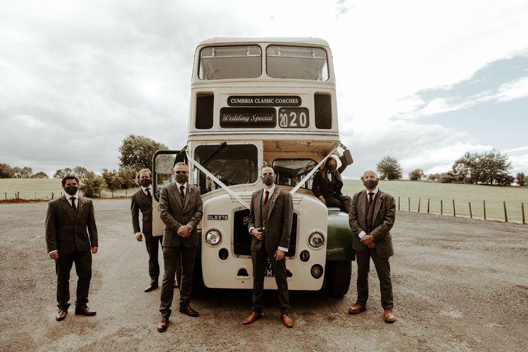 Vintage wedding bus transport at wedding for 15 people
