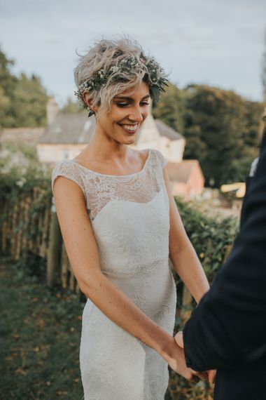 Bride with short hair and delicate flower crown
