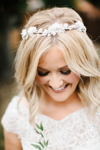 Bride with bobbed hair and jewelled headdress
