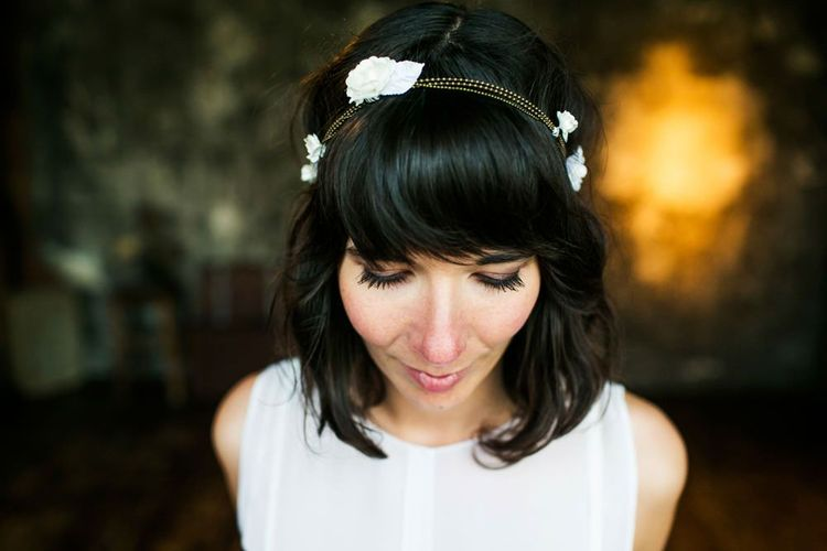 Bride with fringe and chain and flower headdress