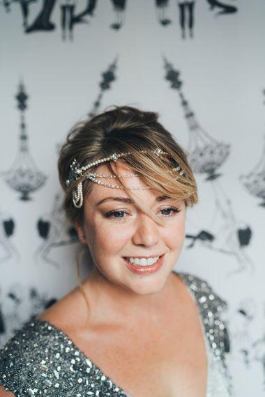 Metallic wedding hair accessories for short hair