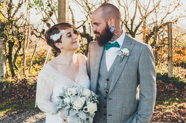 Bride with short hair and lace and pearl headdress