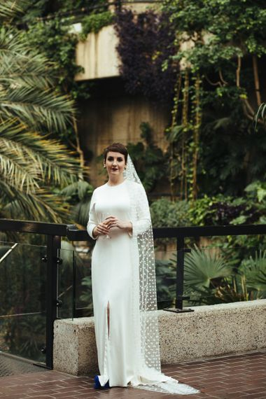 Bride with short hair in Long polka dot wedding veil