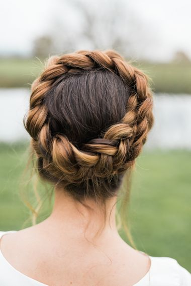 Bridal braid pinned to the crown