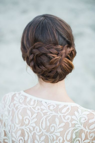 Braids and plated wedding hair updo