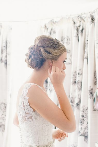 Bridal morning with braided bridal updo