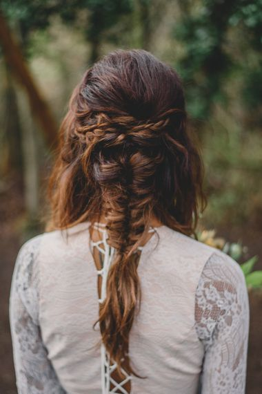 Boho bridal hair with fishtail and brides