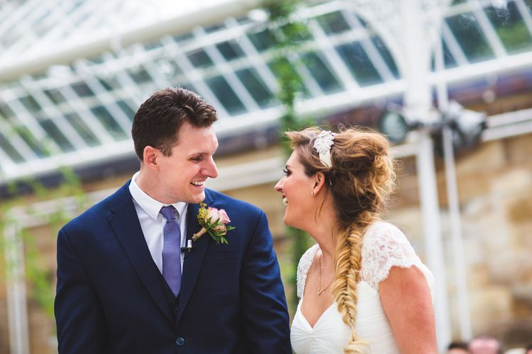 Bride with fishtail side plait and headband