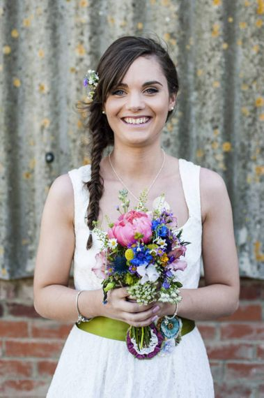 Bridesmaid with side fishtail braid