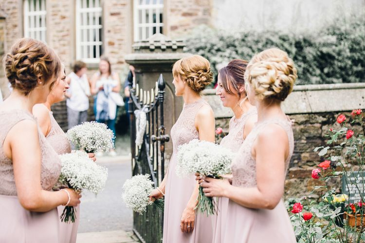 Side braid bridesmaid hair for the whole bridal party