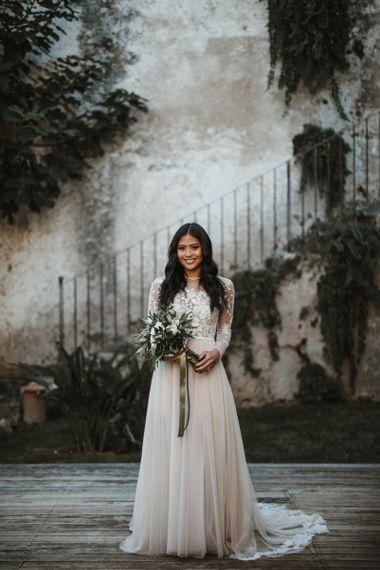 Bride in Hermione De Paula wedding dress