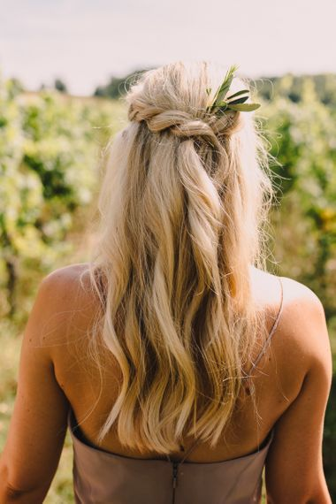 Twisted half up half down wedding hairstyle