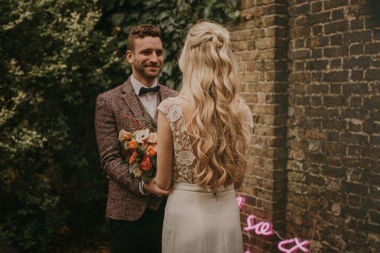 Long wavy blonde wedding hair for boho bride