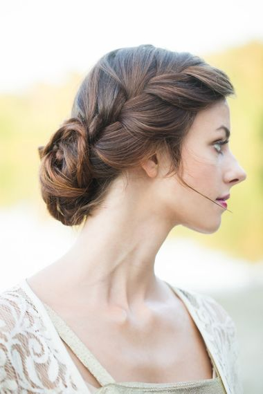 Loosely pinned braided updo