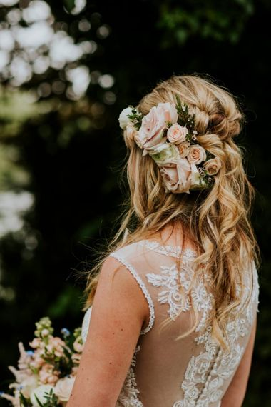 Half up half down wedding hair with flowers