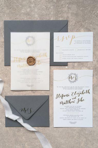 Vellum Wrap For Wedding Invitation By Emerald Paper Design