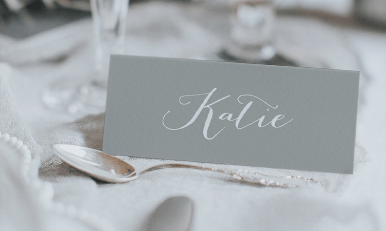 Hand Written Place Name Card By Lilac & White