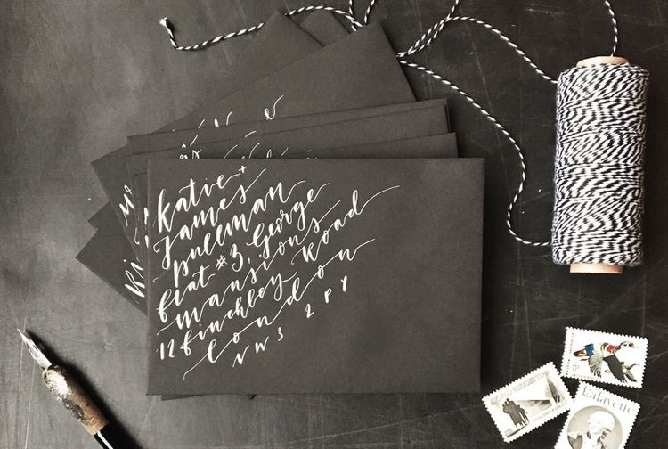 Hand Calligraphy On Wedding Invitations By The Golden Letter