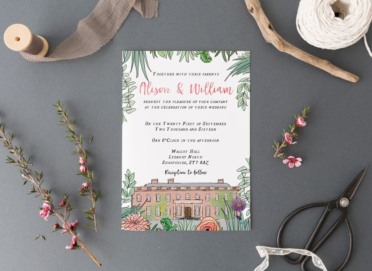 Illustrated Wedding Venue Invite From Emmy Designs