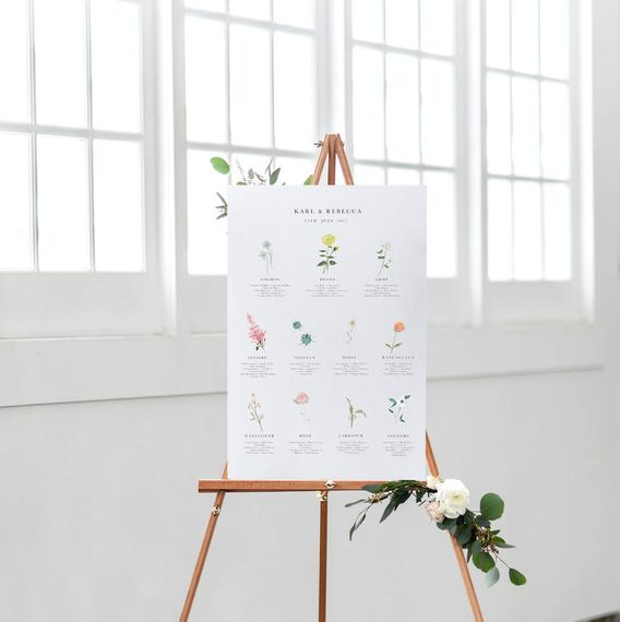 Wildflower Illustration Co. Hand Illustrated Table Plan