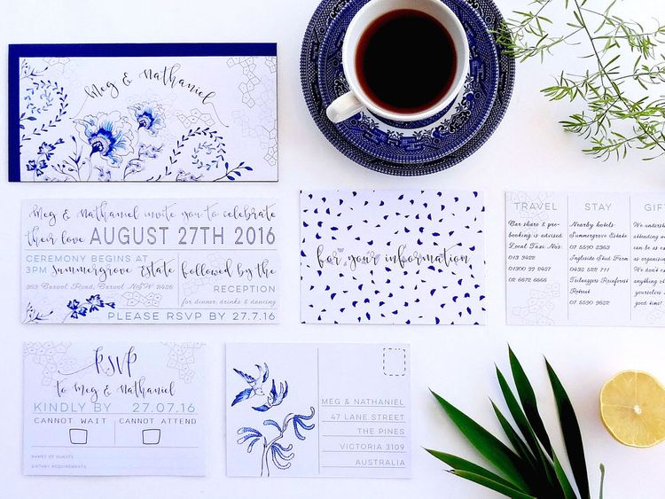 Blue Delftware Inspired Wedding Stationery Suite By Ginny and I