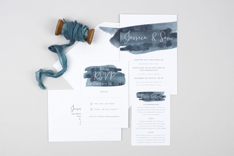 Grey Brush Stroke Wedding Stationery Suite From Pear Paper Co