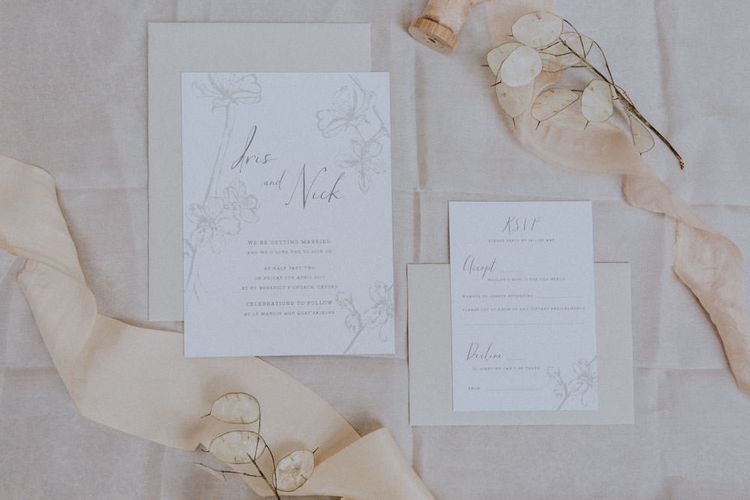 Elegant & Neutral Toned Stationery Suite For Wedding From The Tiny Card Company