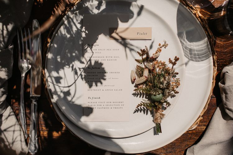 Place setting for woodland wedding at Wickerwood Farm