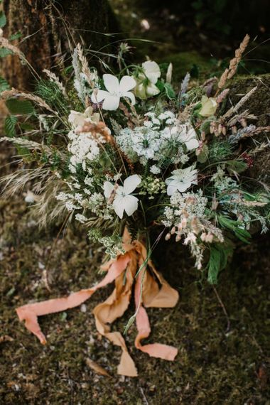 Wildflower wedding bouquet tied with ribbon