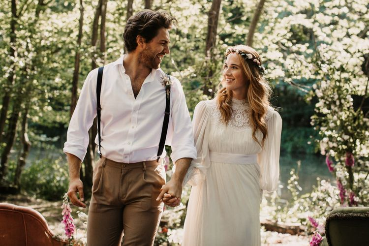 relaxed boho wedding at Wickerwood Farm with bride in flower crown