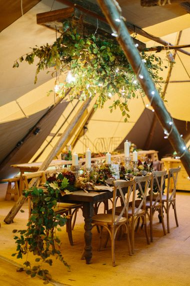 Winter PapaKata Teepee Wedding With Fairy Lights And Foliage Image By Melissa Beattie