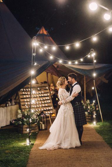 Festoon Lit Teepee Wedding
