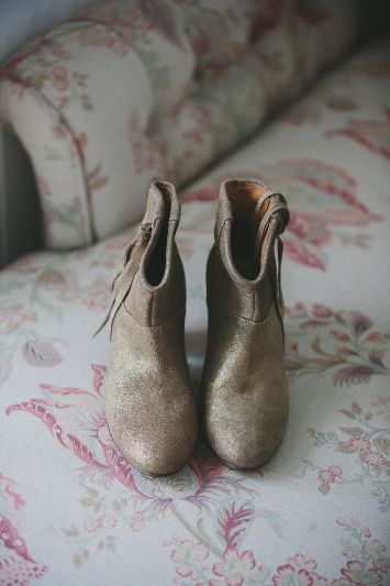 Gold wedding boots