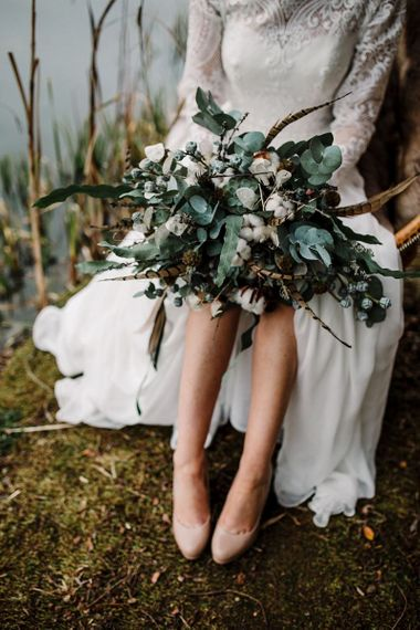 Wild flower winter wedding bouqeut