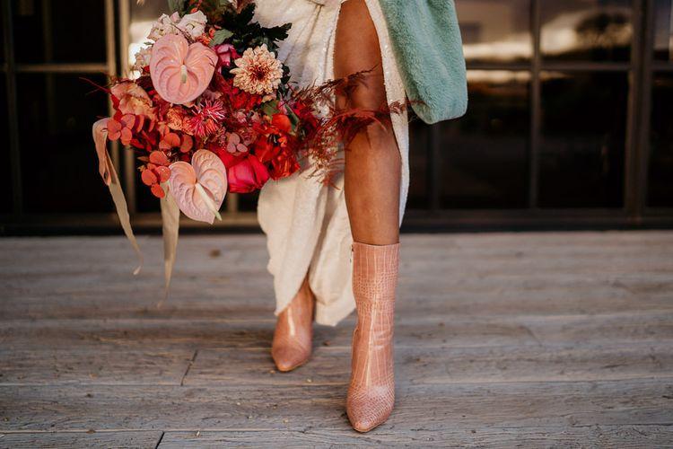 Pink wedding boots