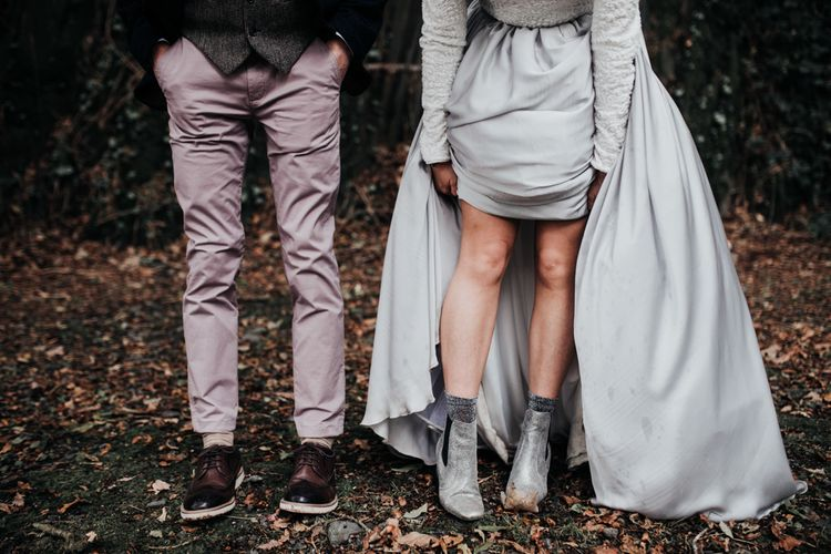 Metallic wedding boots
