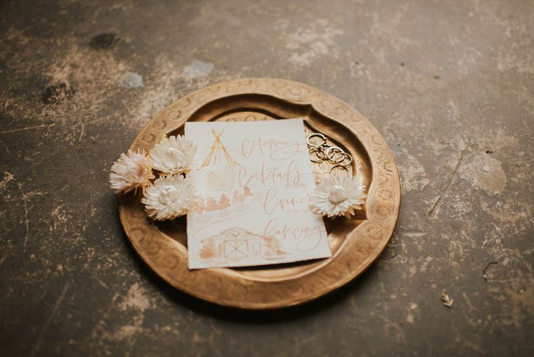 Invitation for Vegas elopement with sparkly wedding dress