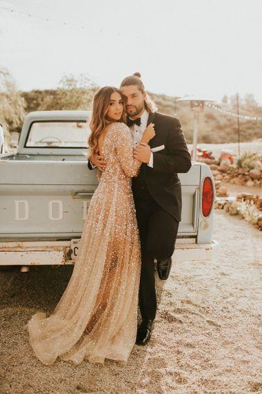 Vegas elopement with bride in sparkly wedding dress