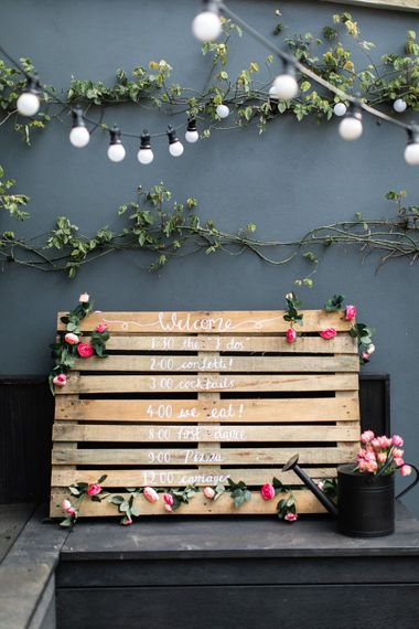 DIY Wooden Pallet Wedding Sign | Order of the Day | Outdoor Wedding Decor with Festoon Lights and Rustic Wooden Pallet