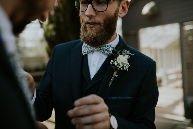 Groom In Blue Floral Bowtie // Image By Enchanted Brides Photography